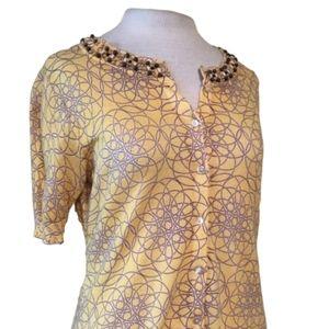 LOFT Cardigan Geometric Beaded Career Sweater